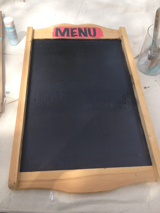 Paint right over your letters with the chalkboard paint. Two good coats at least.